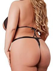 Exposed Access All Areas Wet Look and Mesh Halter Bra Set, Black, hi-res