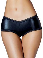 Coquette Darque Plus Size Wet Look and Lace Hot Pants, Black, hi-res
