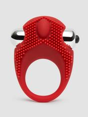 Fronds with Benefits Silicone Vibrating Stimulating Cock Ring, Red, hi-res