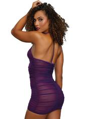 Dreamgirl Purple Front Zip Halterneck Mesh Chemise Set , Purple, hi-res