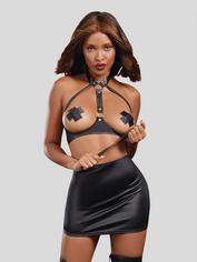 Dreamgirl Black Wet Look Open Cup Harness Bra, Skirt and Paddle Set, Black, hi-res