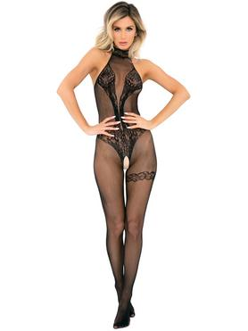 Rene Rofe Black Fishnet and Lace Crotchless Bodystocking