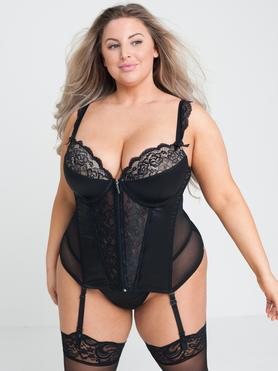 Ensemble guêpière string grande taille Treasure Me noir, Lovehoney