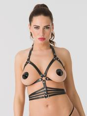 DOMINIX Deluxe Leather Open Cup Harness Bra, Black, hi-res
