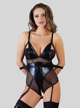 Cottelli Wet Look and Mesh Bondage Teddy with Arm Restraints