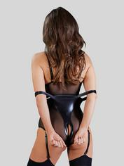 Cottelli Wet Look and Mesh Bondage Body with Arm Restraints, Black, hi-res