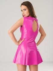 Easy-On Latex Plunge Skater Dress, Pink, hi-res