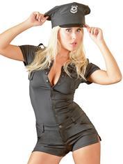 Cottelli Black Sexy Cop Playsuit Costume, Black, hi-res