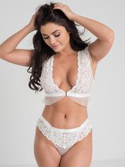 Lovehoney Celeste White Front-Fastening Lace Bra Set, White, hi-res