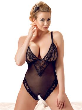 Cottelli Plus Size Black Lace Crotchless Body
