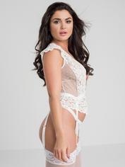 Lovehoney Celeste White Lace Bustier Set, White, hi-res