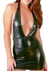 Cottelli Wet Look Deep Plunge Halterneck Mini Dress, Black, hi-res