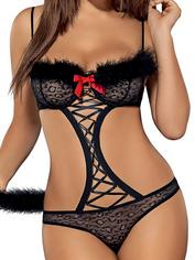 Obsessive Black Cut-Out Leopard Costume, Black, hi-res