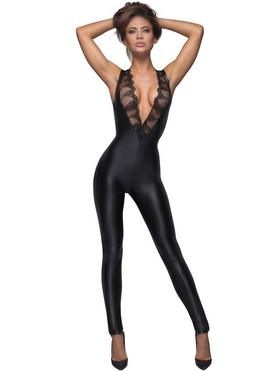 Noir Black Wet Look Sleeveless Plunge Catsuit