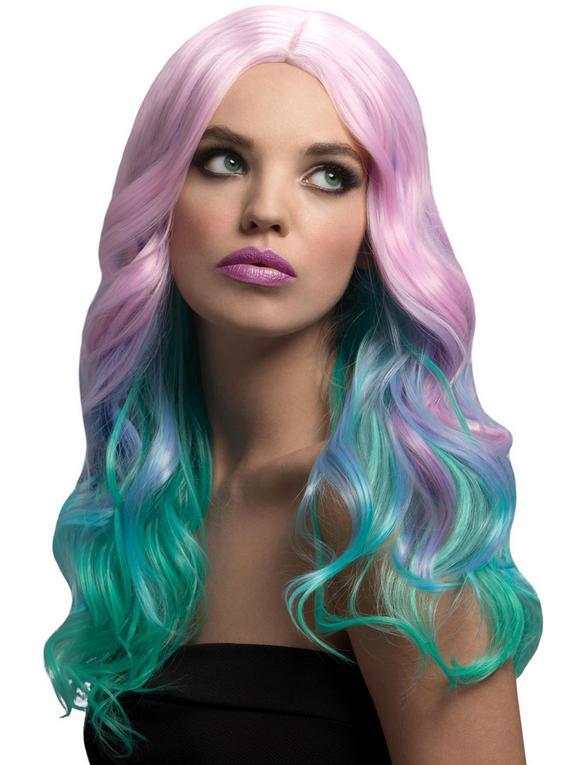 Fever Multicolour Pastel Ombre Long Wave Wig, Blonde, hi-res
