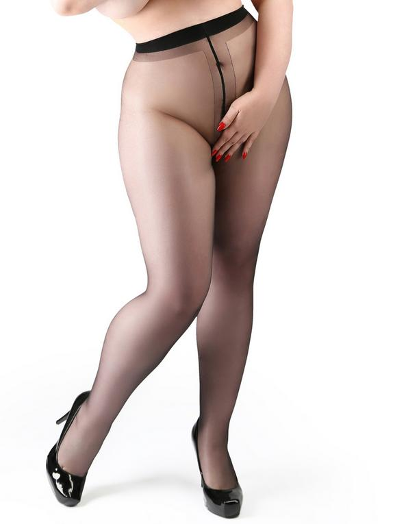Miss Naughty Plus Size Black Sheer Crotchless Tights, Black, hi-res