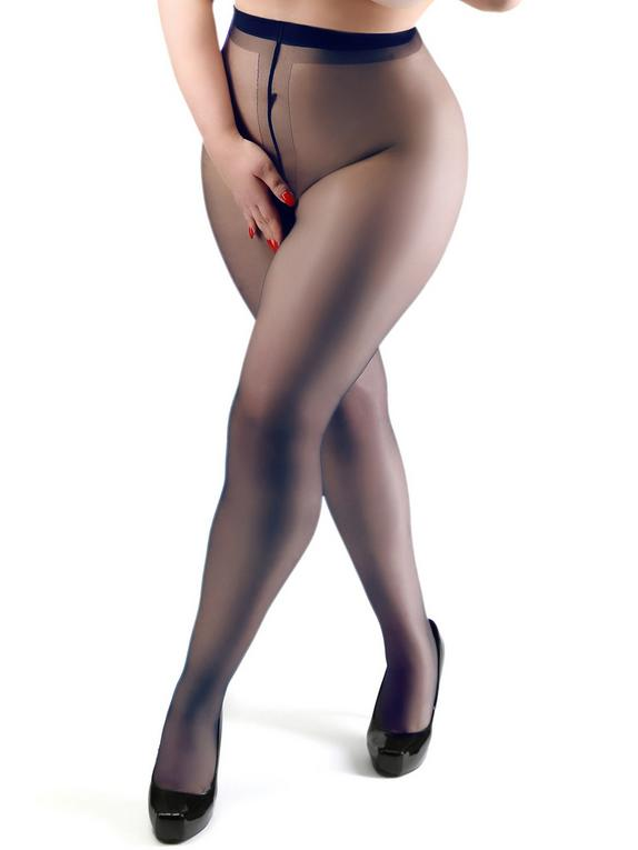 Miss Naughty Plus Size Navy Sheer Crotchless Tights, Blue, hi-res
