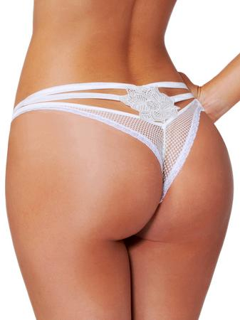 Seven 'til Midnight White Fishnet Strappy Thong