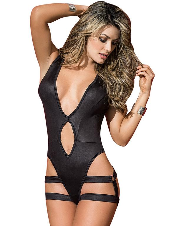 Mapale Black Wet Look and Mesh Harness Body , Black, hi-res