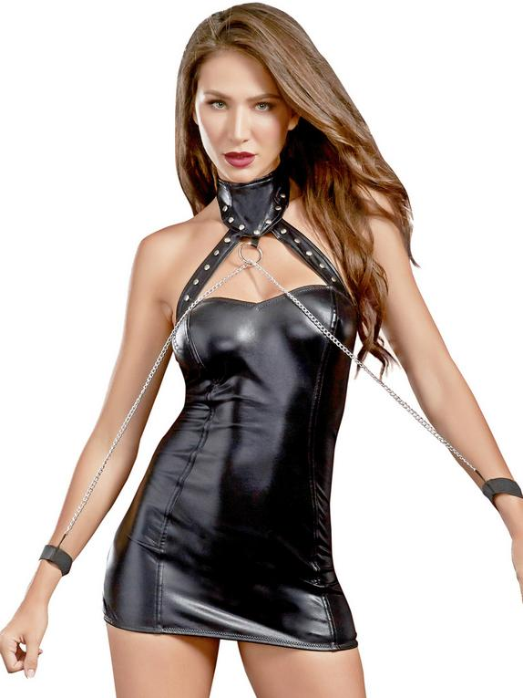Dreamgirl Black Wet Look Open Back Chemise and Restraints Set , Black, hi-res
