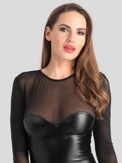 Lovehoney Fierce Wet Look and Mesh Long Sleeve Dress, Black, hi-res