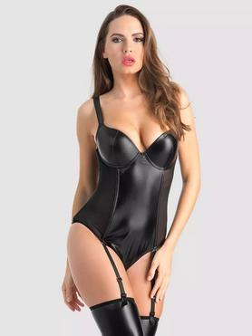 Lovehoney Fierce Wet Look and Mesh Underwired Teddy