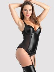 Lovehoney Fierce Wet Look and Mesh Underwired Teddy, Black, hi-res