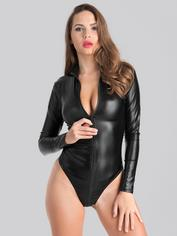 Lovehoney Fierce Wet Look Long Sleeve Zipper Teddy, Black, hi-res