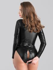 Lovehoney Fierce Wet Look Long Sleeve Zip-Around Body, Black, hi-res