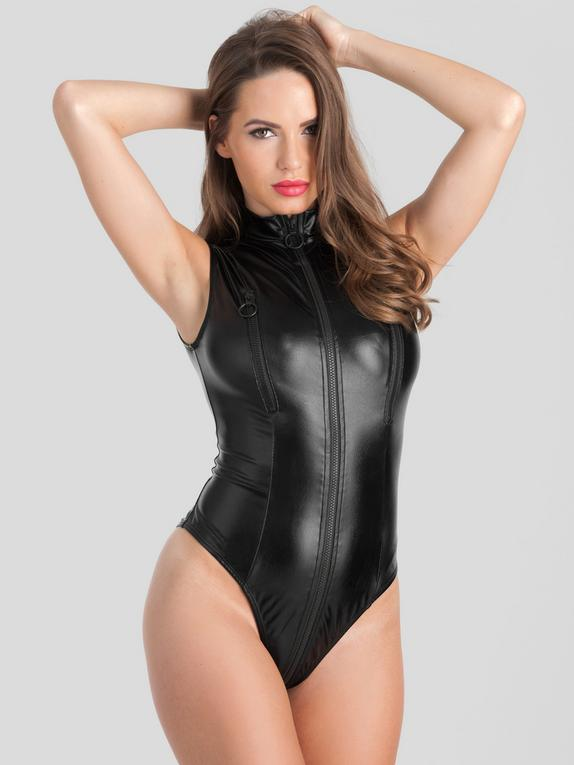 Lovehoney Fierce Wet Look Zip-Around Peek-A-Boo Body, Black, hi-res