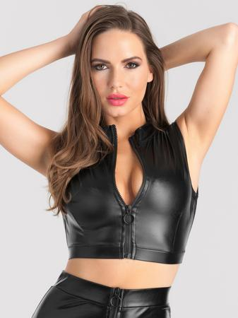 Lovehoney Fierce Black Wet Look Zipper Crop Top