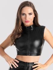 Lovehoney Fierce Black Wet Look Zipper Crop Top, Black, hi-res