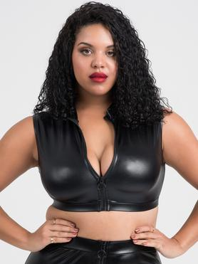 Crop top wetlook zip frontal grande taille Fierce noir, Lovehoney