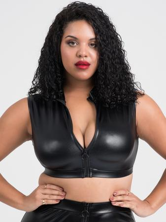 Lovehoney Plus Size Fierce Black Wet Look Zipper Crop Top