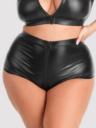Lovehoney Plus Size Fierce Wet Look High-Waisted Panties