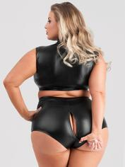Lovehoney Fierce Wet Look High-Waisted Knickers, Black, hi-res