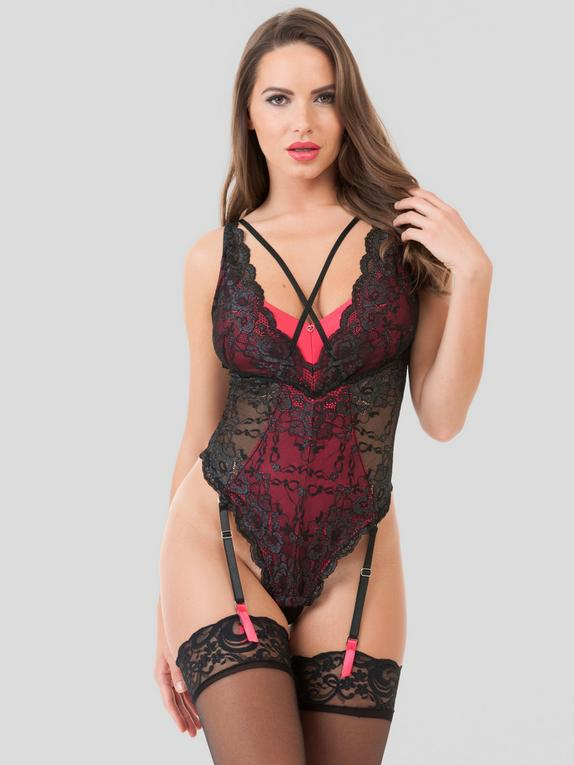 Lovehoney Enchanted Red and Black Lace Teddy, Red, hi-res