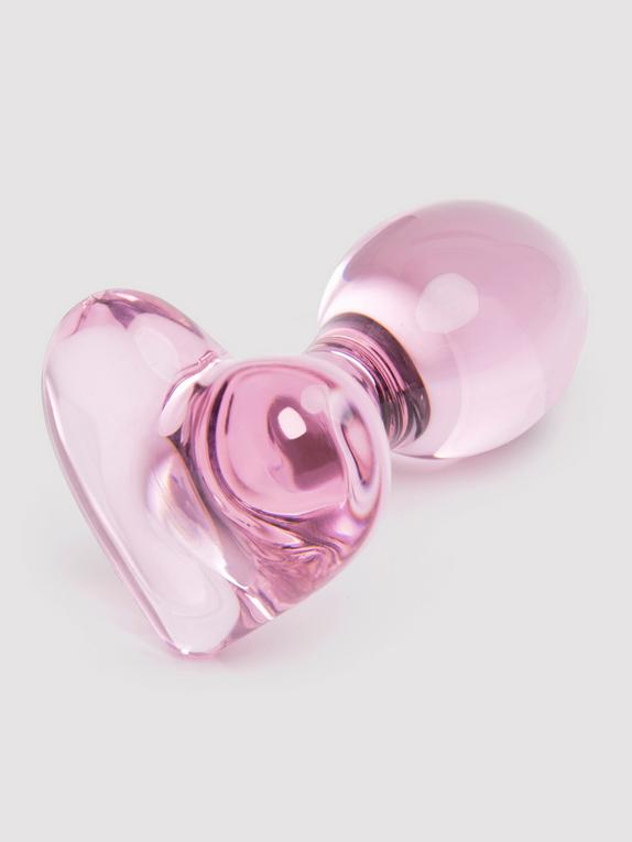 Lovehoney Small Heart Glass Butt Plug 3 Inch, Pink, hi-res