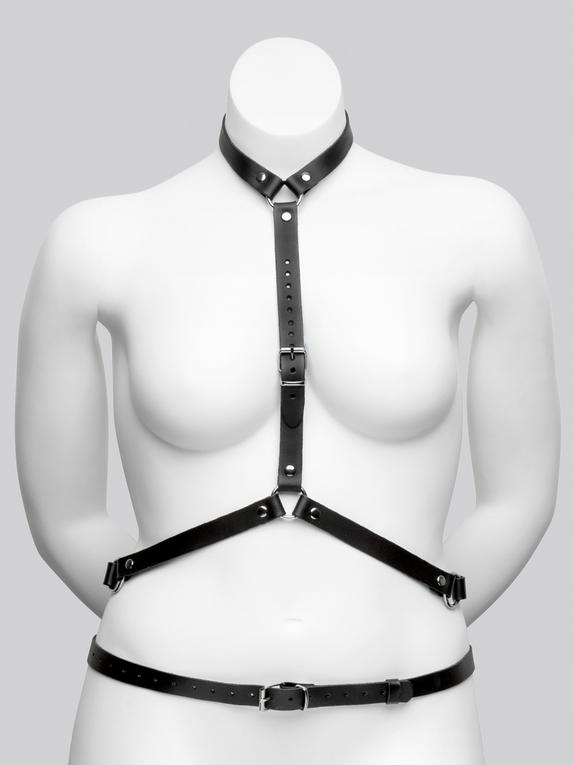 DOMINIX Deluxe Leather Plus Size Harness with Collar, Black, hi-res