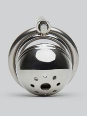 Master Series Solitary Stainless Steel Locking Chastity Cage, Silver, hi-res