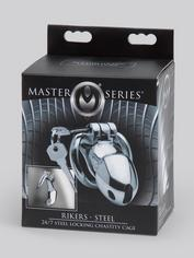 Master Series Rikers Stainless Steel Locking Chastity Cage, Silver, hi-res