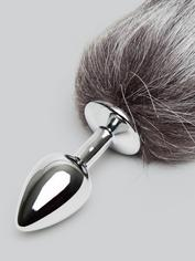DOMINIX Deluxe Stainless Steel Small Faux Silver Fox Tail Butt Plug, Silver, hi-res