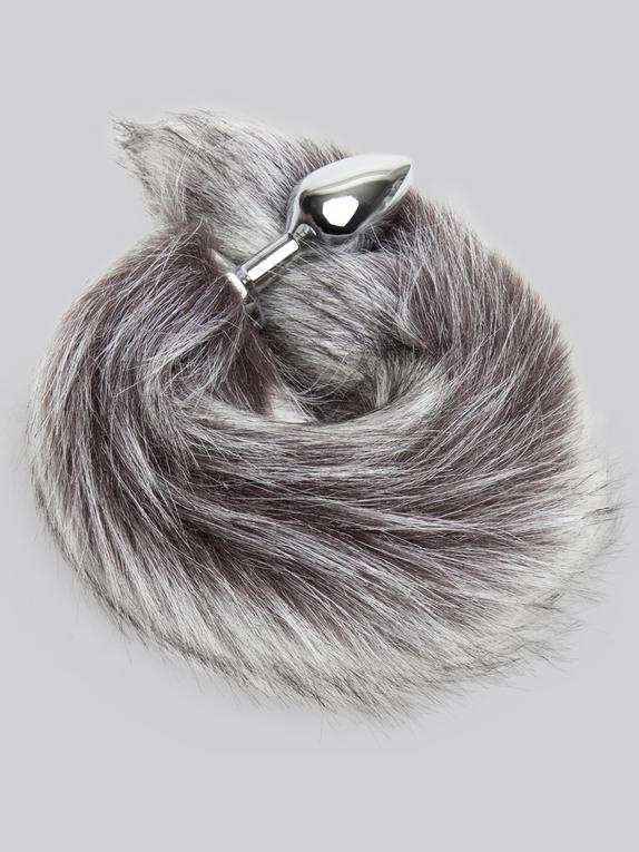 DOMINIX Deluxe Stainless Steel Medium Faux Silver Fox Tail Butt Plug, Silver, hi-res