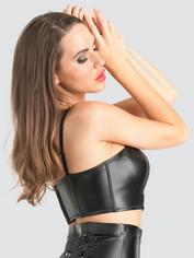 Lovehoney Fierce Leather-Look Longline Bra, Black, hi-res