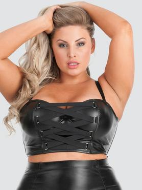Lovehoney Plus Size Fierce Leather-Look Longline Bra