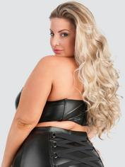 Lovehoney Fierce Leather-Look Longline Bra, Black, hi-res