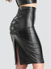 Lovehoney Fierce Black Leather-Look Skirt, Black, hi-res