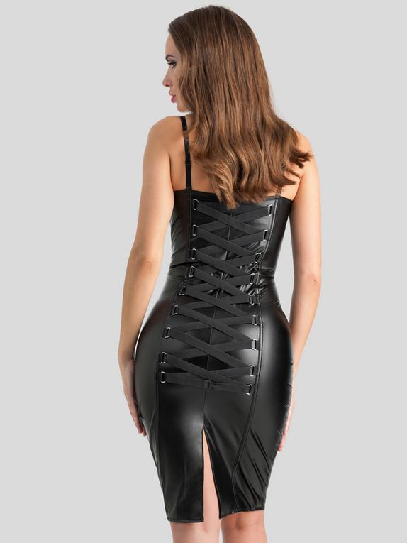 Lovehoney Fierce Leather-Look Bodycon Dress, Black, hi-res