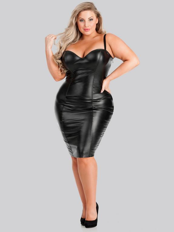 Lovehoney Fierce Leather-Look Bodycon Dress, Black, hi-res
