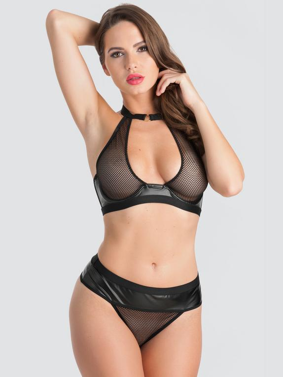 Lovehoney Fierce Wet Look and Fishnet Halterneck Bra Set, Black, hi-res